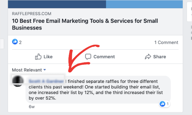 rafflepress content marketing example with a testimonial on facebook