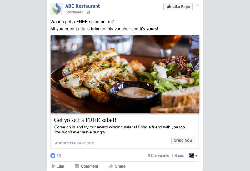 facebook ad example for restaurant marketing strategy