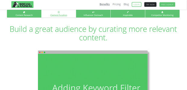 social animal provides a content curation tool