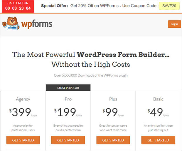 WPForms pricing hello bar
