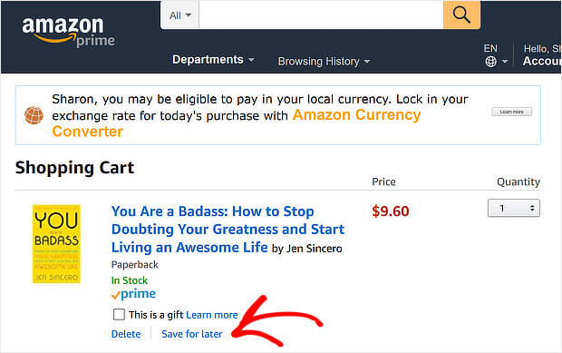 amazon save for later