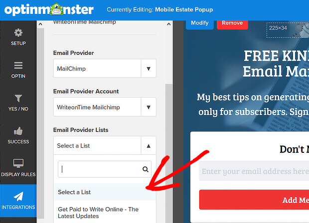 choose email list