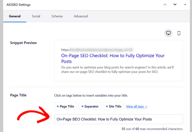 all in one seo page title and snippet preview