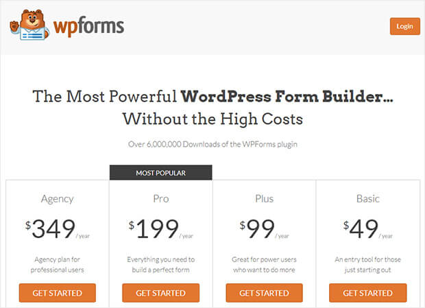 wpforms optimized pricing page
