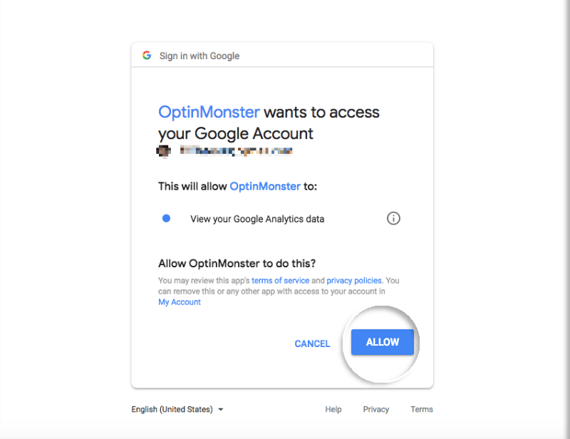 Allow OptinMonster permission to receive data from Google Analytics
