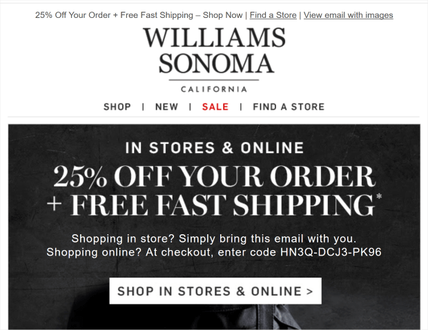 sales promotion examples - Williams Sonoma