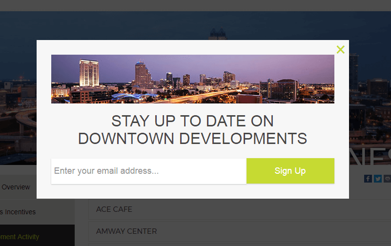 DowntownOrlando adds 4000 subscribers a year using OptinMonster