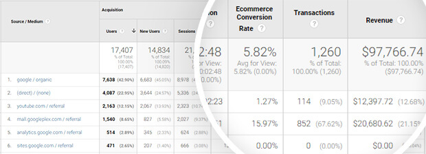 ecommerce conversions by traffic source