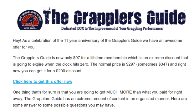 here's a sales promotion example from grappler's guide