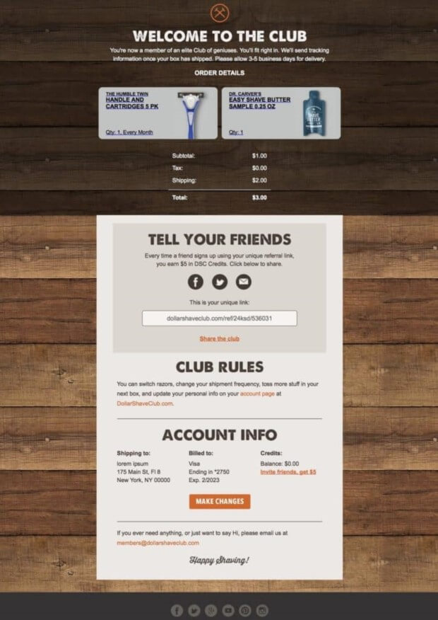 Dollar Shave Club order confirmation email