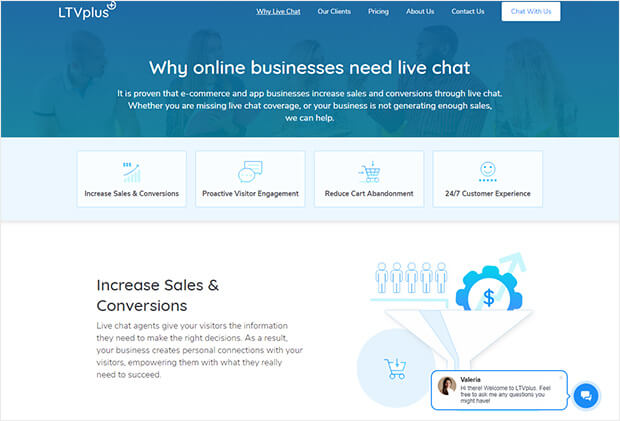 live chat increases engagement and conversions