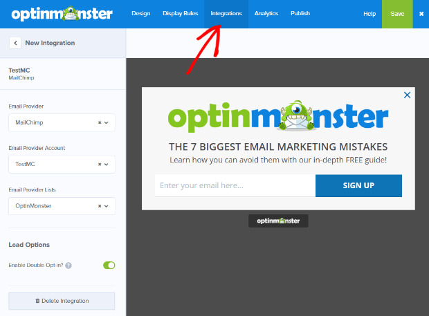 OptinMonster integrates with every major email marketing platform