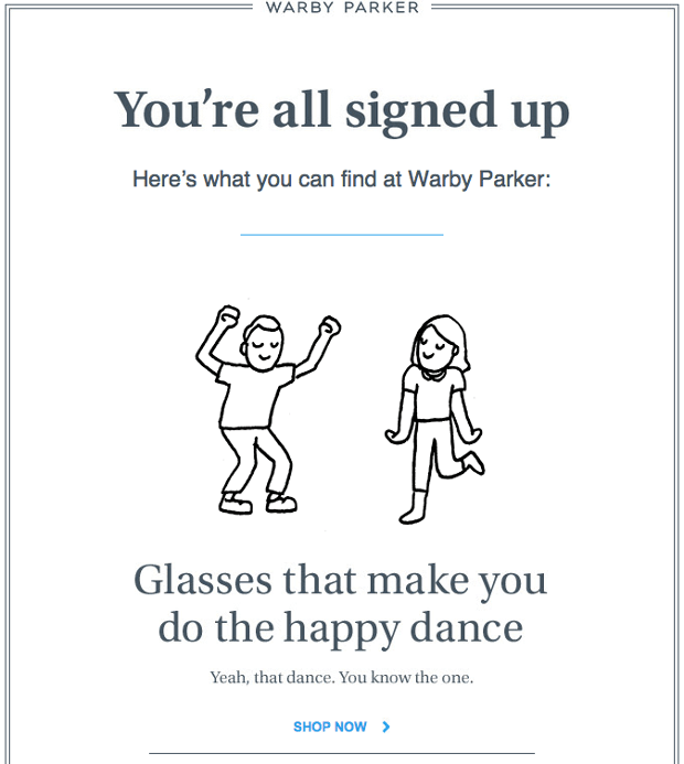 Warby Parker welcome email - best ecommerce emails
