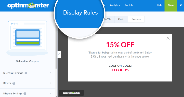 display rules for coupon popup