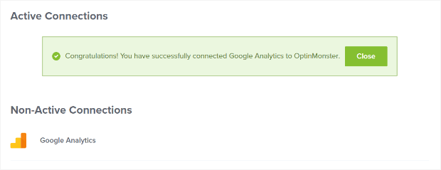 Google Analytics successfully connected