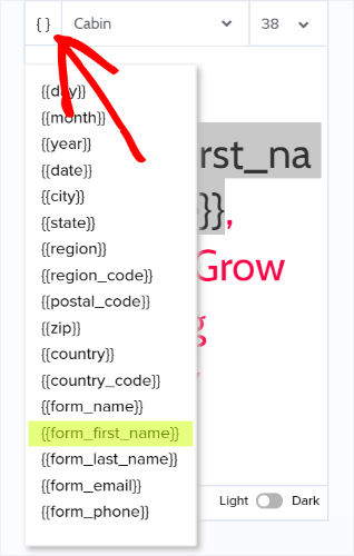 choose form_first_name from the list