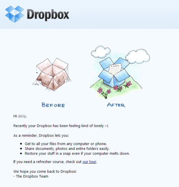 dropbox short and sweet email marketing content