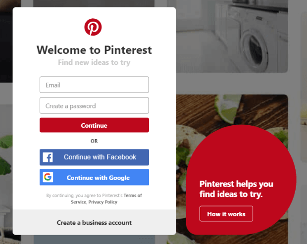 sign up for a new pinterest account