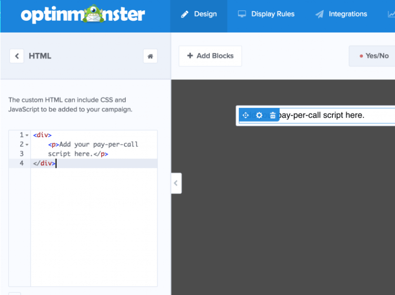 Display complex custom scripts in your optin using our Custom HTML element.