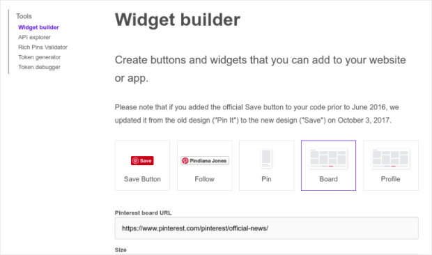 widget builder pinterest pop ups