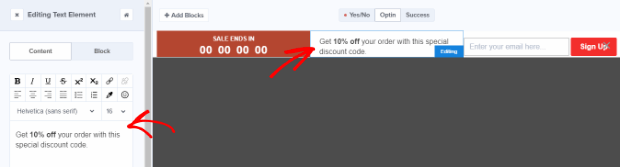 design the countdown offer text