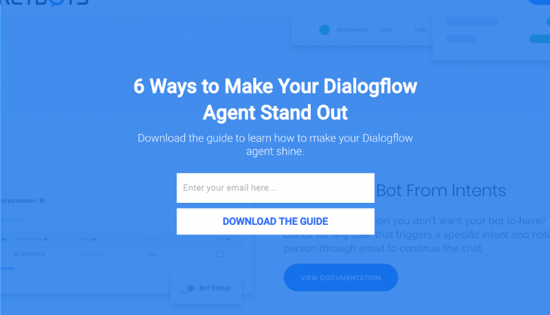 Rocketbots targeted DialogFlow users with a specific offer.