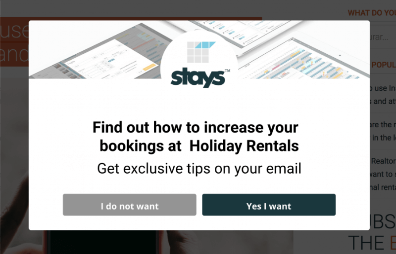 Stays.net captured abandoning visitors using an exit-intent campaign.