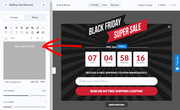 edit your black friday campaign