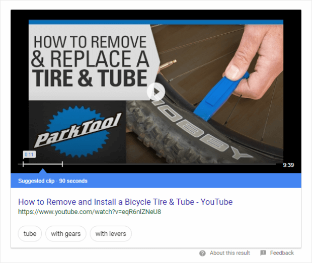 video featured snippets