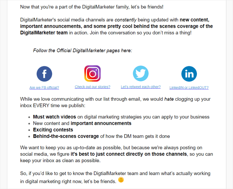 digital marketer uses a call to action that drives new subscribers to their social media in their email newsletter