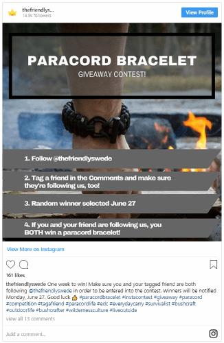 host an instagram contest