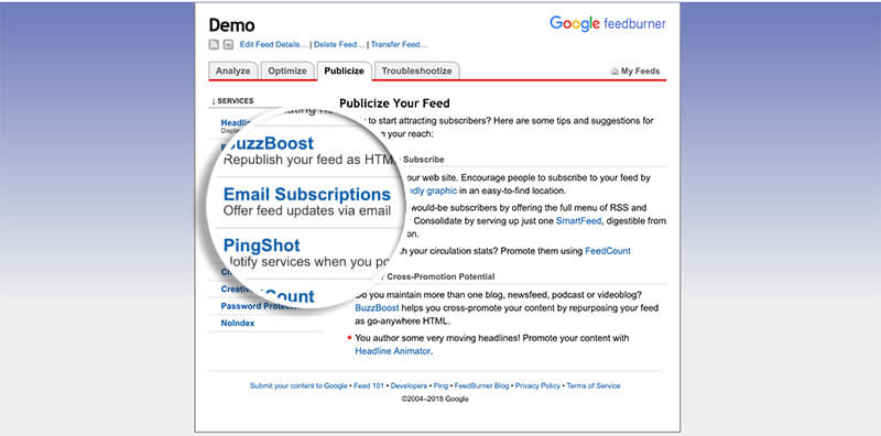 Email Subscriptions Page