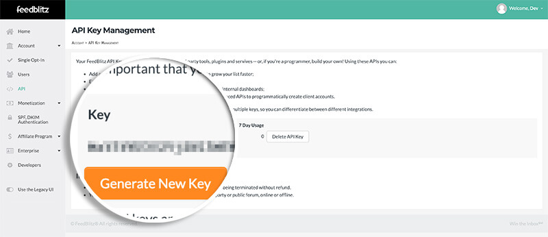 Copy API Key