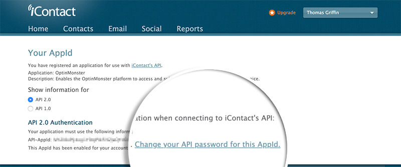 iContact Change App Password