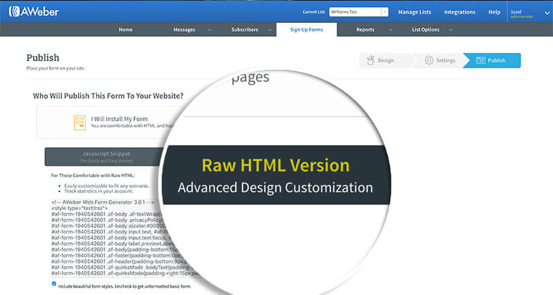 Aweber Form Raw HTML Version