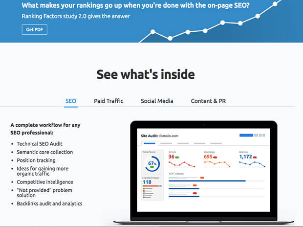 semrush helps you track earned and paid media