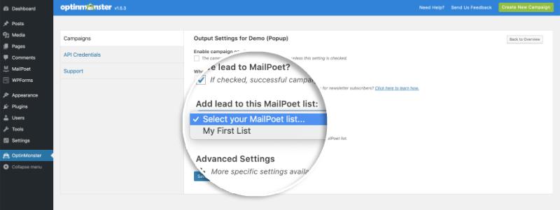 Mailpoet Select List