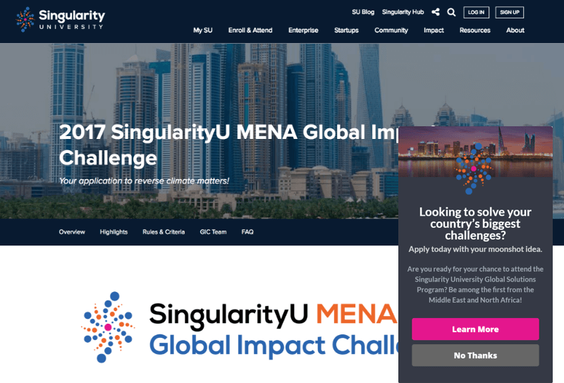 Singularity used geotargeting to show this campaign only to visitors from the Middle East and North Africa