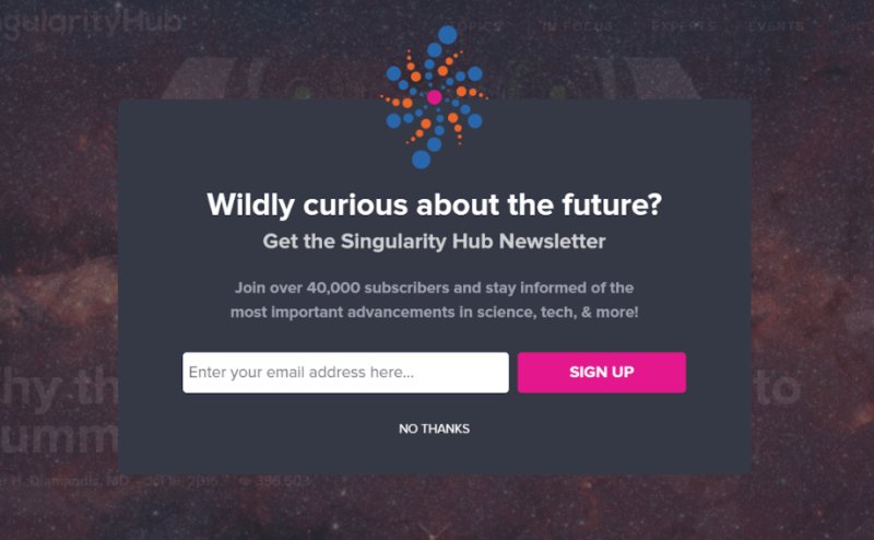 Singularity University captures abandoning visitors with an exit-intent campaign.