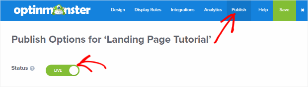 publish your landing page