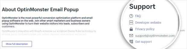 optinmonster shopify app page
