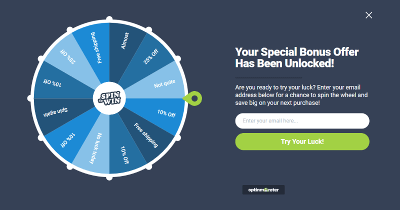 spin to win wheel template for gamified optin campaign