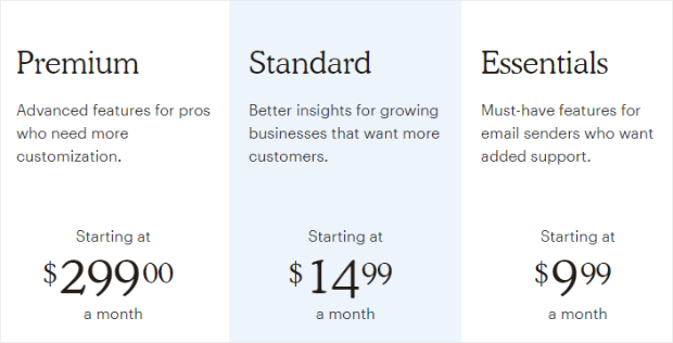 mailchimp pricing as of august 2019