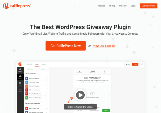 rafflepress is the best wordpress plugin for giveaways