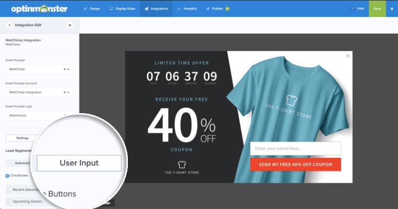 MailChimp Lead Segments User Input