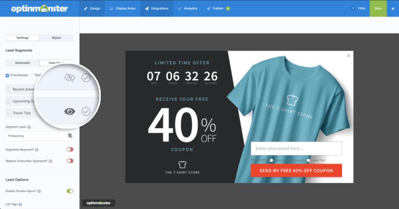 MailChimp Lead Segments User Input Eye Icon