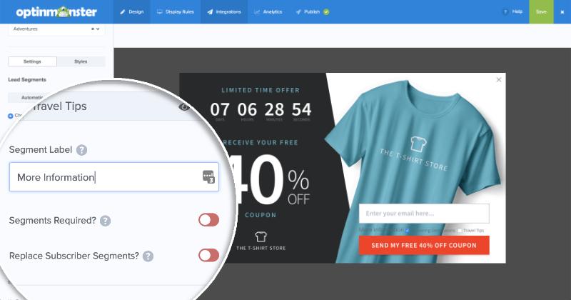 MailChimp Lead Segments User Input Segment Options
