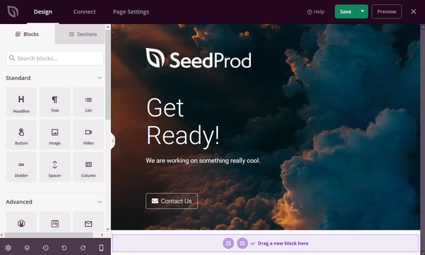 seedprod page drag and drop page builder