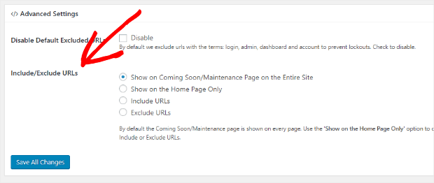 include or exclude URLs
