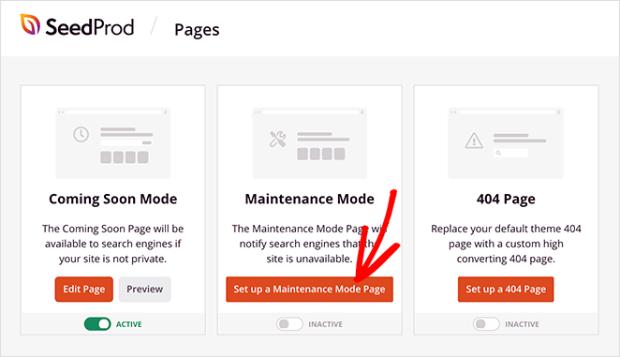 set up wordpress maintenance mode